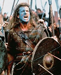 Mel Gibson as William Wallace in the blockbuster film Braveheart.