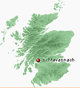 Map of Scotland showing location of Inchtavannach
