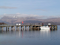 Luss pier with Ben Lomond in the background.