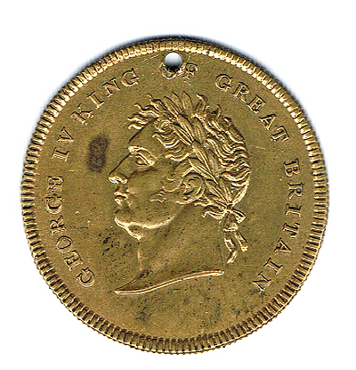An alternative medallion commemorating George IV's 1822 Edinburgh visit.
