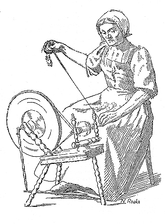 Woman at spinning wheel.