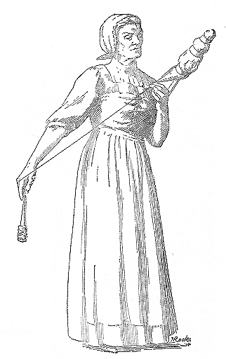 Distaff spinning whilst standing