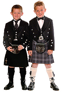 Two page boys in Highland dress.