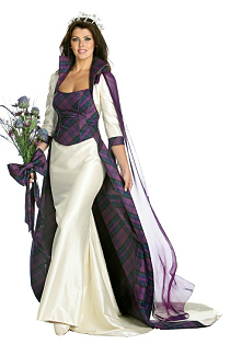 6630fd7755ed Bride with flower and white silk dress with tartan bodice and trim.