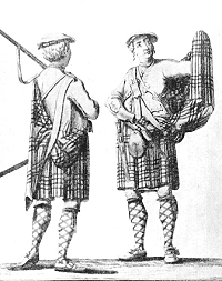 1743. van der Gucht engraving of two Highland soliders in the belted plaid.