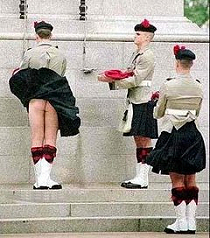 Kilted soldier with no underwear.