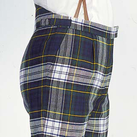 Tartan trews showing the use of braces