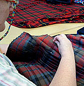 Hand sewing a kilt