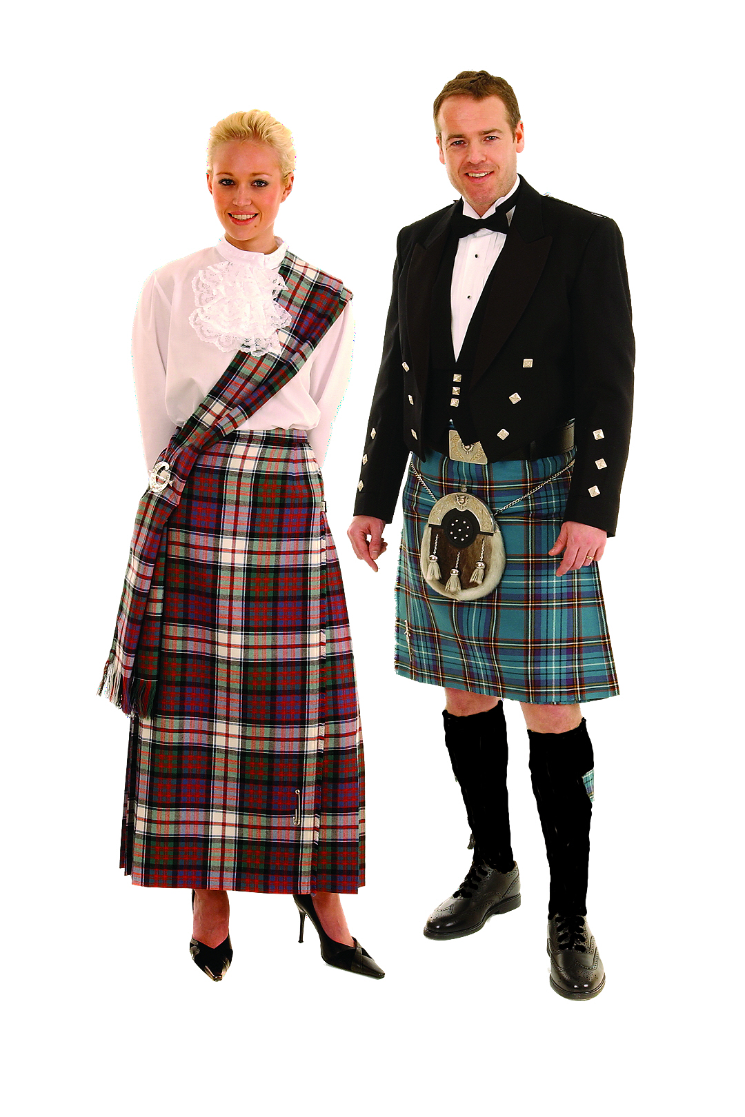 Couple dressed for evening in tartan.
