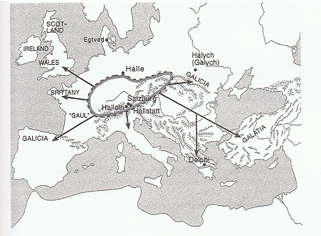 Map showing the central area of the proto-Celtic Hallstatt culture in about the 5th century b.c., just prior to Celtic expansion after 400 b.c Plaid twills similar to those from Hami were found in the salt mines at Hallstatt and Hallein, in the Alps above Salzburg.