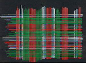 Tartan designing on black paper.